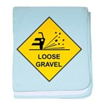 Yellow Loose Gravel Sign - baby blanket