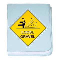 Yellow Loose Gravel Sign - baby blanket