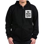 No Right Turn Sign Zip Hoodie (dark)