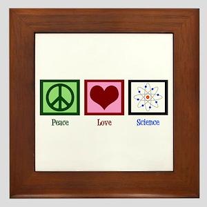Peace Love Science Framed Tile