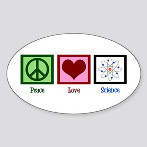 Peace Love Science Sticker (Oval)