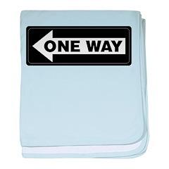 One Way Sign - Left - baby blanket