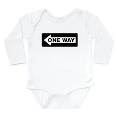 One Way Sign - Left - Long Sleeve Infant Bodysuit