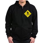Pedestrian Crosswalk Sign Zip Hoodie (dark)
