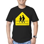 School Crossing Sign Men's Fitted T-Shirt (dark)