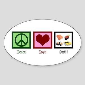 Peace Love Sushi Sticker (Oval)