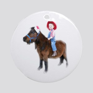 Santa Mini Horse Ornament (Round)