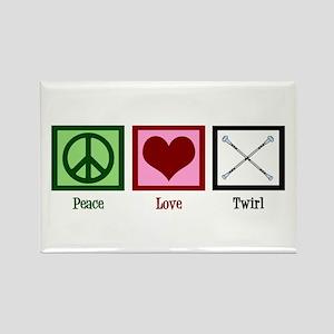 Peace Love Twirl Rectangle Magnet