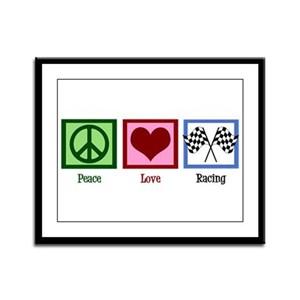 Peace Love Auto Racing Framed Panel Print