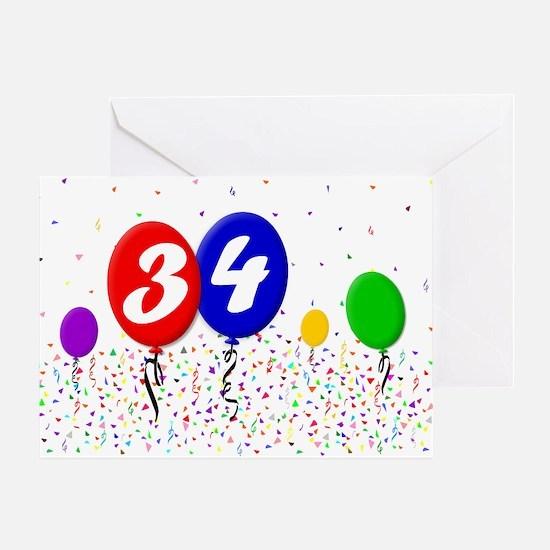 34th Birthday Greeting Card