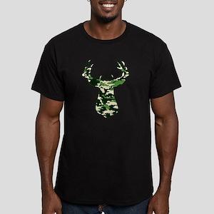 BUCK IN CAMO Men's Fitted T-Shirt (dark)