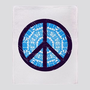 Tie-dye Peace Sign Throw Blanket