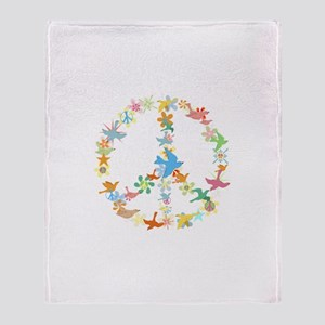Abstract Art Peace Sign Throw Blanket
