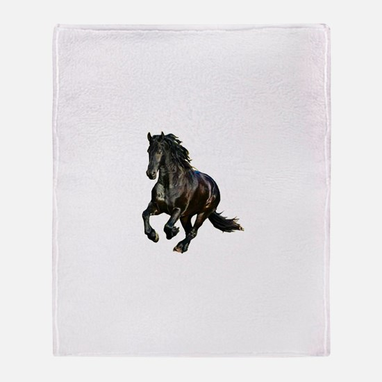 Black Stallion Horse Throw Blanket