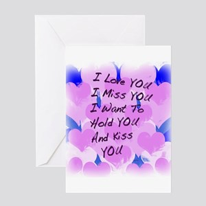 Miss you greeting cards cafepress i love u i miss u greeting card m4hsunfo