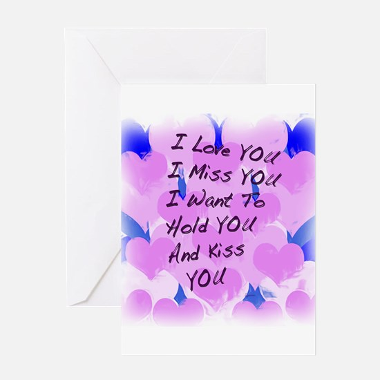 I LOVE U I MISS U Greeting Card