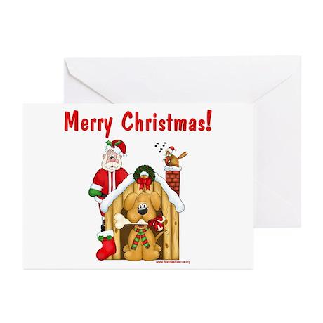 Santa & Dog House Greeting Cards (Pk of 10)