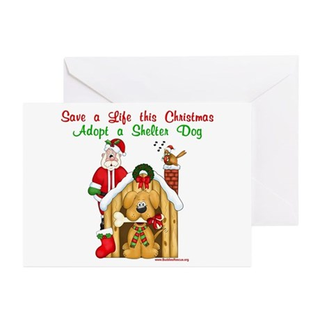 Santa & Dog House Greeting Cards (Pk of 10)