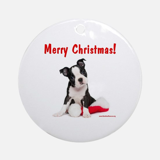 Christmas Puppy Ornament (Round)