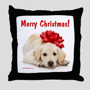 Christmas Lab Puppy Throw Pillow