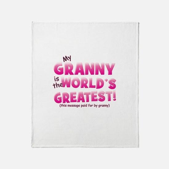 World's Greatest Granny (pink Throw Blanket