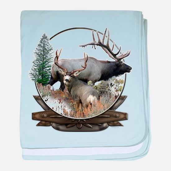 Big game elk and deer baby blanket