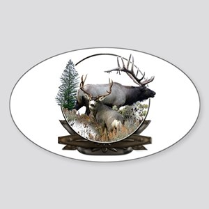 Big game elk and deer Sticker (Oval)