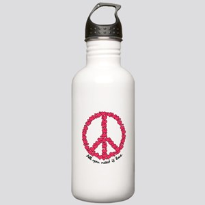 Hearts Peace Sign Stainless Water Bottle 1.0L