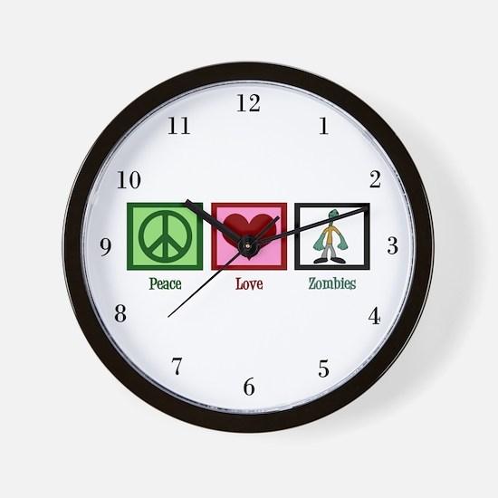 Peace Love Zombies Wall Clock