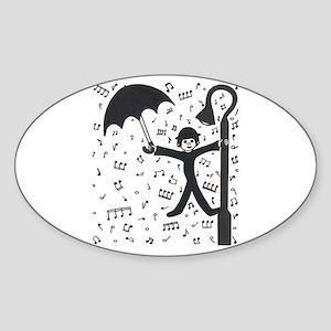 'Singing in the Rain' Sticker (Oval)