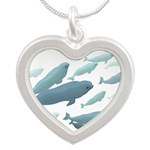 Beluga Whale Art Silver Heart Necklace