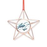 Beluga Whale Art Copper Star Ornament