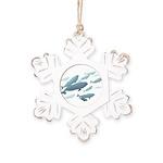 Beluga Whale Art Rustic Snowflake Ornament