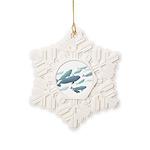 Beluga Whale Art Snowflake Ornament