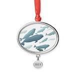 Beluga Whale Art Oval Year Ornament