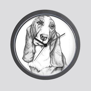 Basset Hound drawing Wall Clock