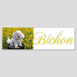 BICHON YELLOW FLOWER FIELD Sticker (Bumper)