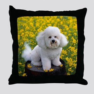 BICHON YELLOW FLOWER FIELD Throw Pillow