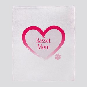 Basset Pink Heart Throw Blanket