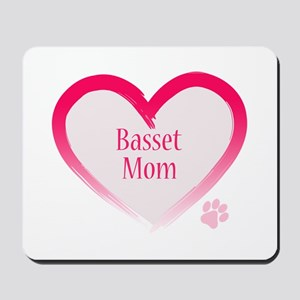 Basset Pink Heart Mousepad
