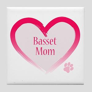 Basset Pink Heart Tile Coaster