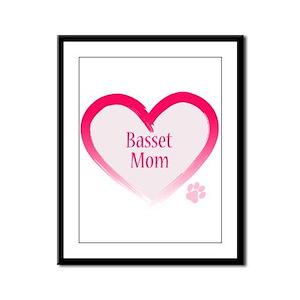 Basset Pink Heart Framed Panel Print