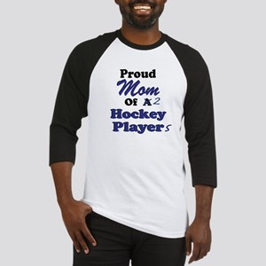Mom 2 Hockey Players Baseball Jersey