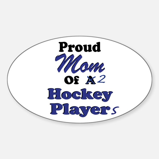 Mom 2 Hockey Players Sticker (Oval)