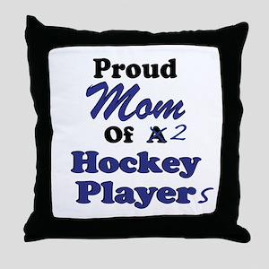 Mom 2 Hockey Players Throw Pillow
