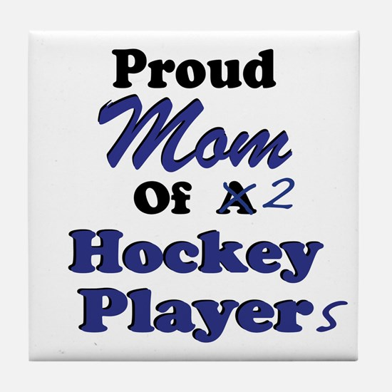 Mom 2 Hockey Players Tile Coaster