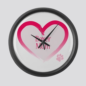 Boxer Pink Heart Large Wall Clock