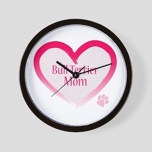Bull Terrier Pink Heart Wall Clock