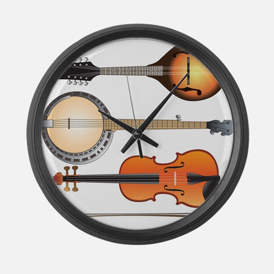 Mandolin Banjo and Fiddle Large Wall Clock