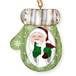 Santa Clause Christmas Mitten Ornament